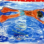 Grade 3 David Hockney style swimmer painting drawing 1