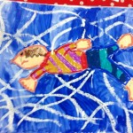 Grade 3 David Hockney style swimmer painting drawing 2
