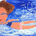 Grade 3 David Hockney style swimmer painting drawing 4