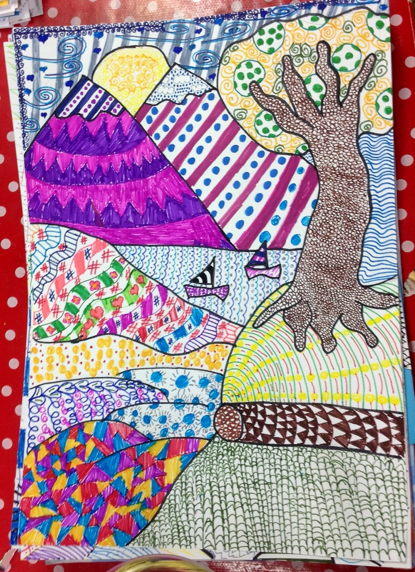 Grade 5 zentangle landscape drawing 13