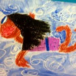Grade 3 David Hockney style swimmer painting drawing 7