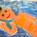 Grade 3 David Hockney style swimmer painting drawing 9