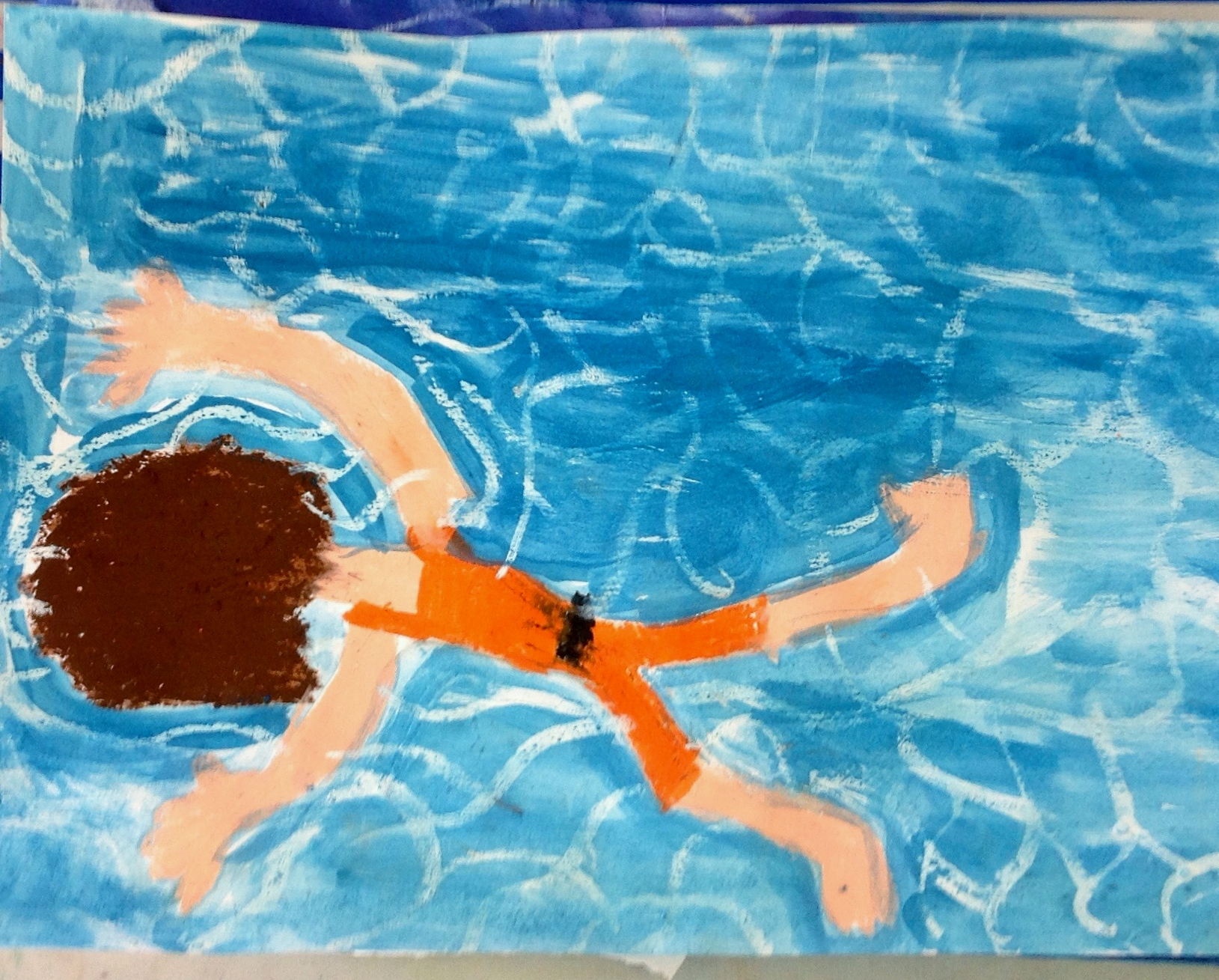 Grade 3 David Hockney style swimmer painting drawing 12