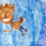 Grade 3 David Hockney style swimmer painting drawing 16