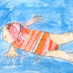Grade 3 David Hockney style swimmer painting drawing 19