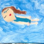 Grade 3 David Hockney style swimmer painting drawing 22