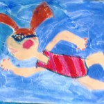 Grade 3 David Hockney style swimmer painting drawing 24