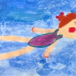 Grade 3 David Hockney style swimmer painting drawing 25