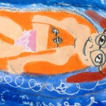 Grade 3 David Hockney style swimmer painting drawing 26