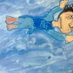 Grade 3 David Hockney style swimmer painting drawing 27