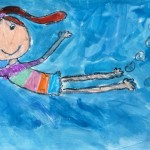 Grade 3 David Hockney style swimmer painting drawing 32