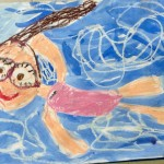 Grade 3 David Hockney style swimmer painting drawing 34