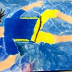 Grade 3 David Hockney style swimmer painting drawing 35