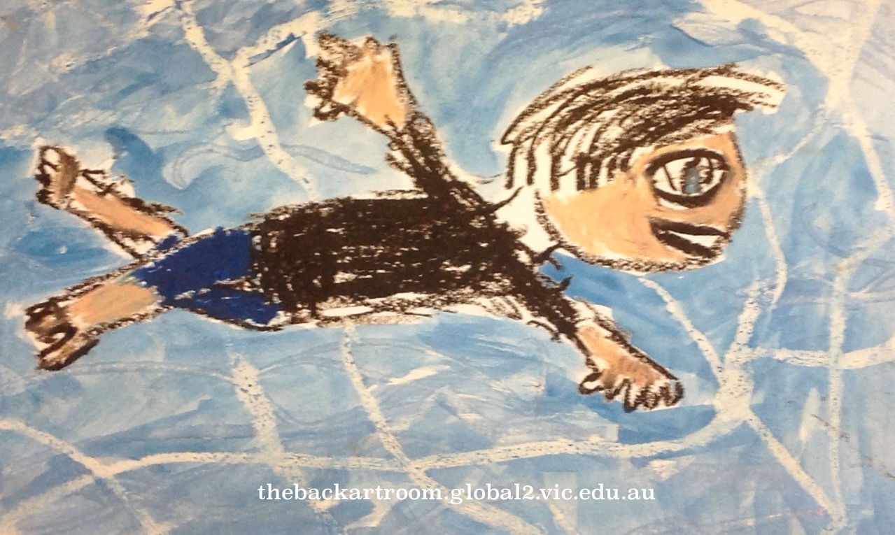 Grade 3 David Hockney style swimmer painting drawing 11