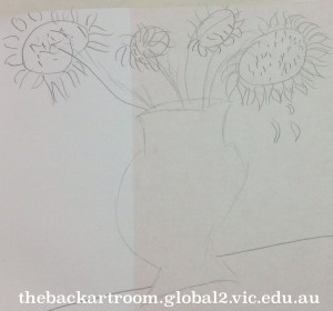 grade 3 sunflower drawing painting 2015 89